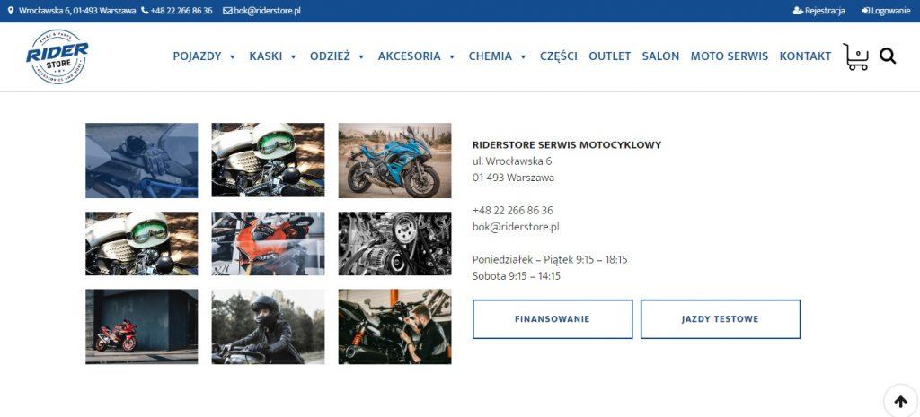 Salon i serwis Rider Store Serwis Motocyklowy, Diagnostyka Elektroniki, Serwis Mechaniki, Pełna obsługa mechaniczna, przygotowywanie do sezonu, naprawa silnika.